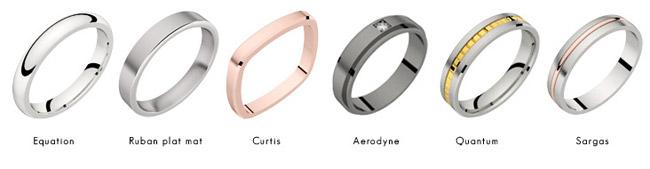 Alliances de mariage homme en or blanc, or rose, rhodiage noir