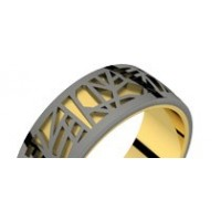 Bague homme or jaune et or noir ABSTRACTION 75