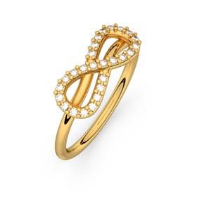 Diamond ring yellow gold MON AMOUR INFINI 0,13 ct HSI