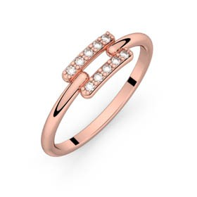 Diamond ring pink gold TOI + MOI 0,10 ct HSI