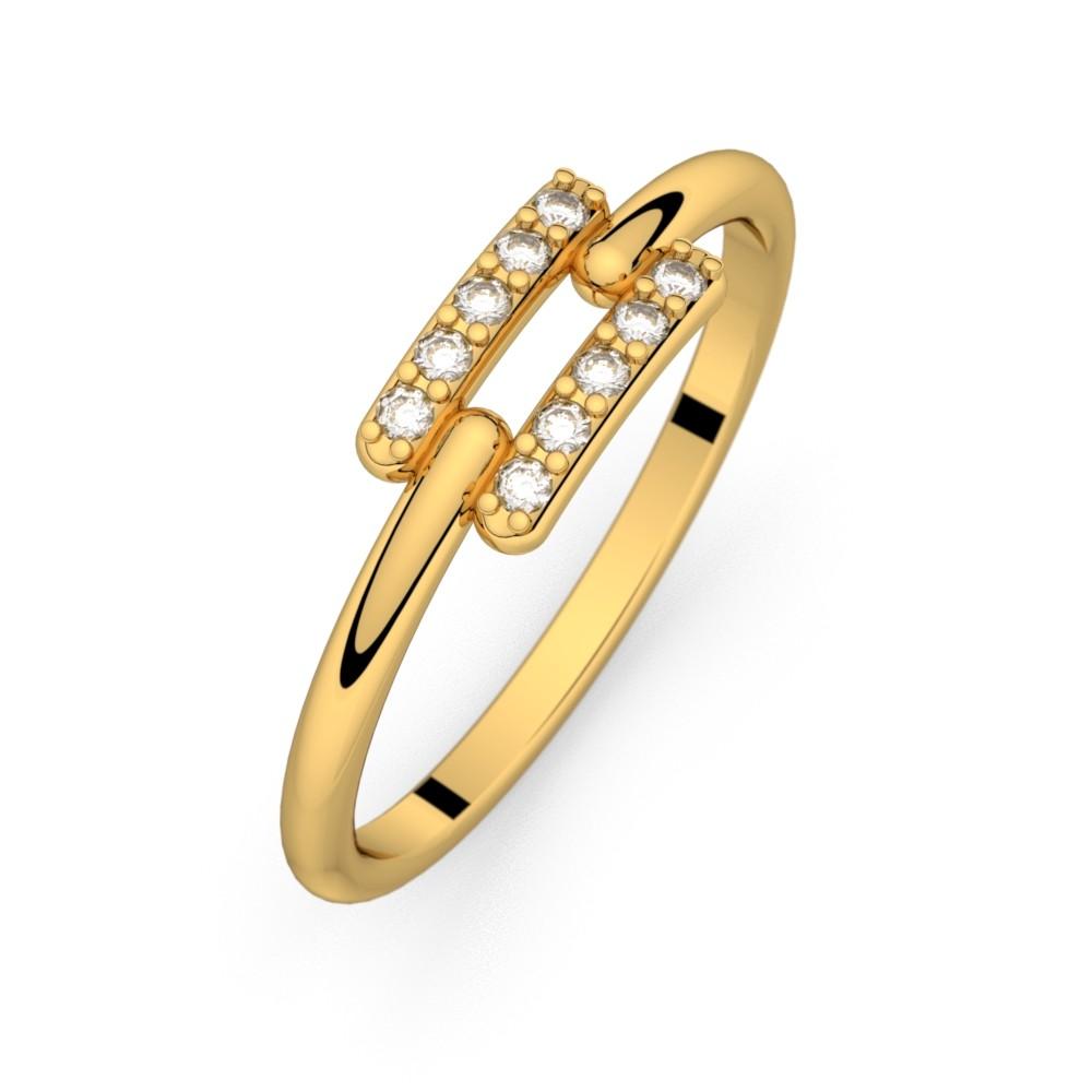 Diamond ring yellow gold TOI + MOI 0,10 ct HSI