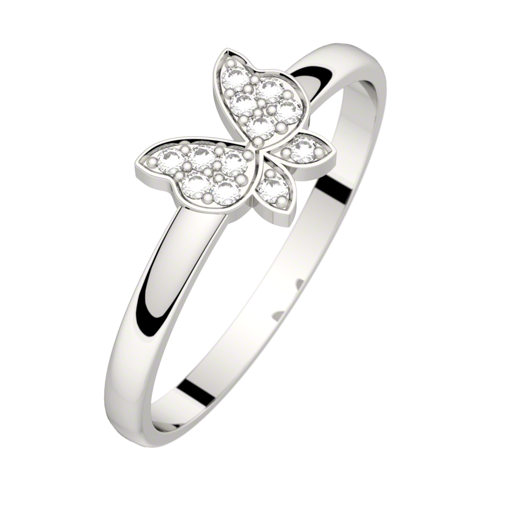 Bague diamant or blanc MINUTE PAPILLON 0,06 ct