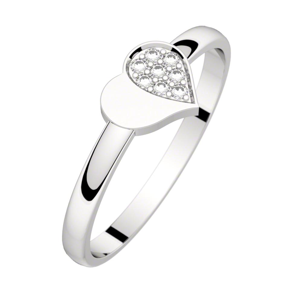 Bague diamant or blanc MON PETIT COEUR 0,04 ct