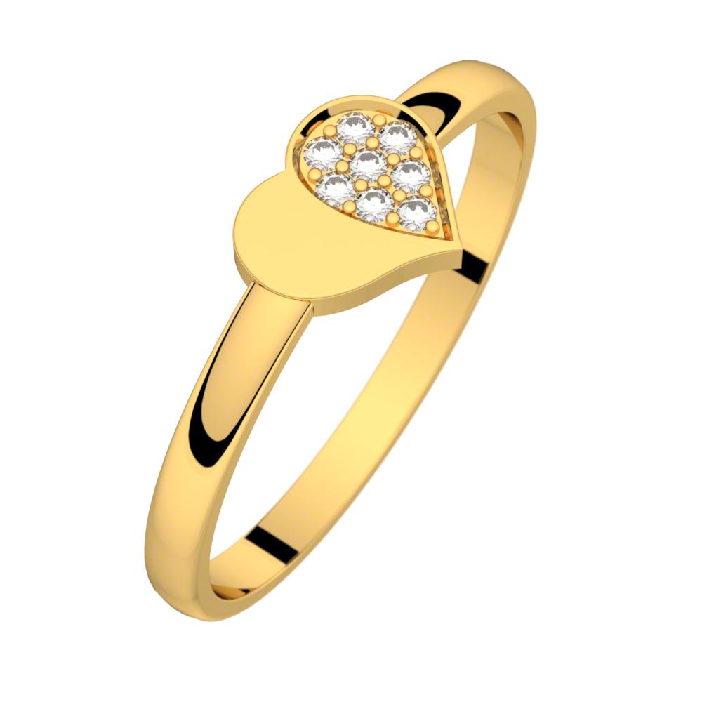 Bague diamant or jaune MON PETIT COEUR 0,04 ct