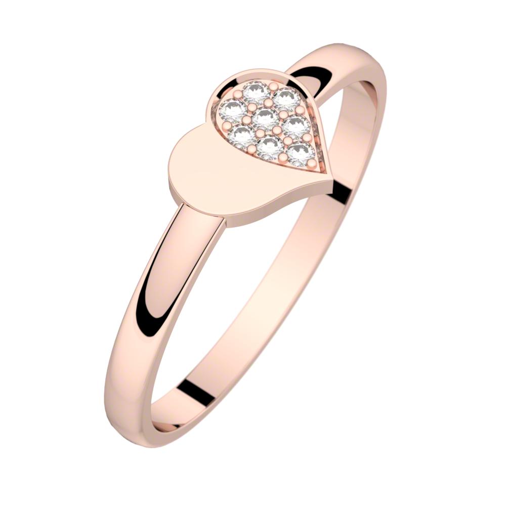 Bague diamant or rose MON PETIT COEUR 0,04 ct