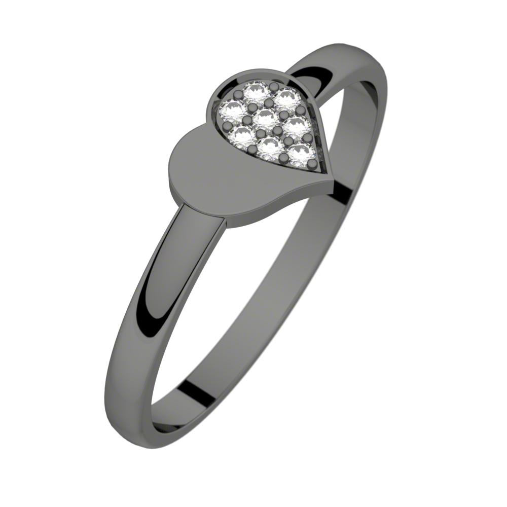 Bague diamant rhodiage noir MON PETIT COEUR 0,04 ct