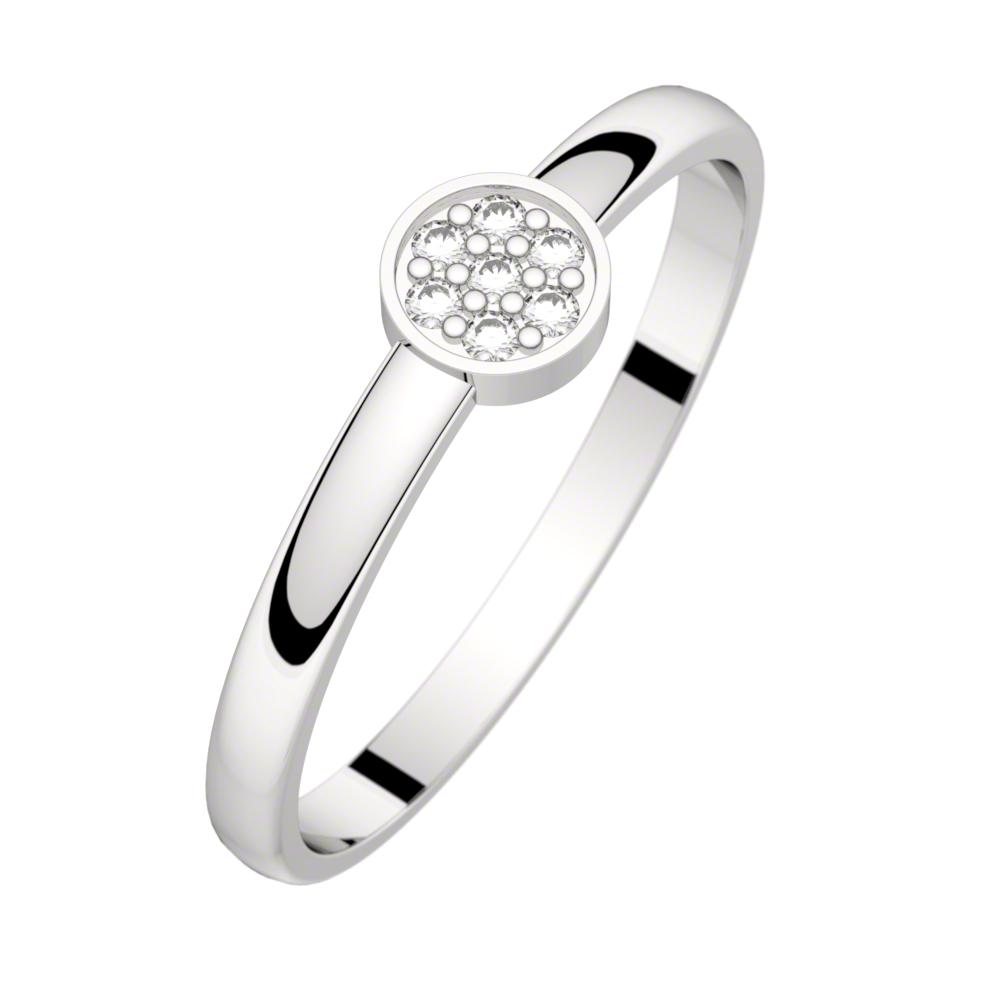 Bague diamant or blanc LUNA 0,04 ct