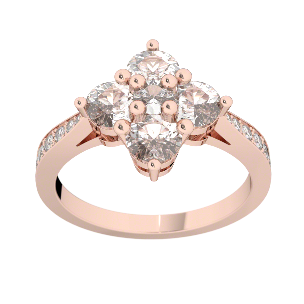 Bague diamants or rose ROSE DES VENTS 1,27 ct
