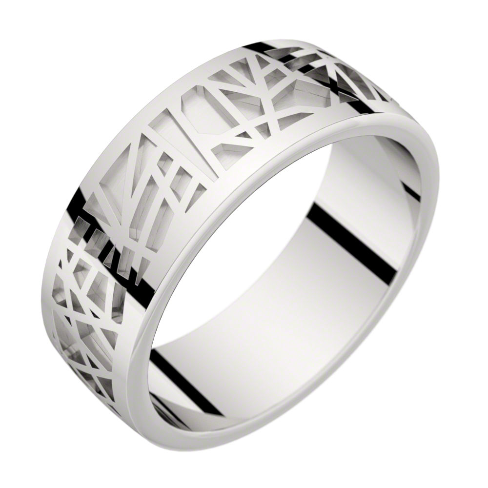 Bague homme or blanc ABSTRACTION 75