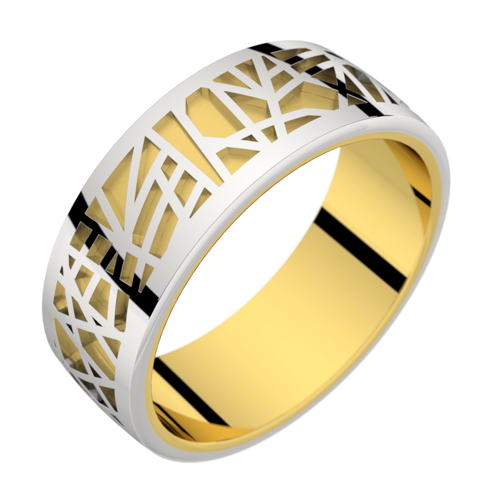 Bague homme or jaune et or blanc ABSTRACTION 75