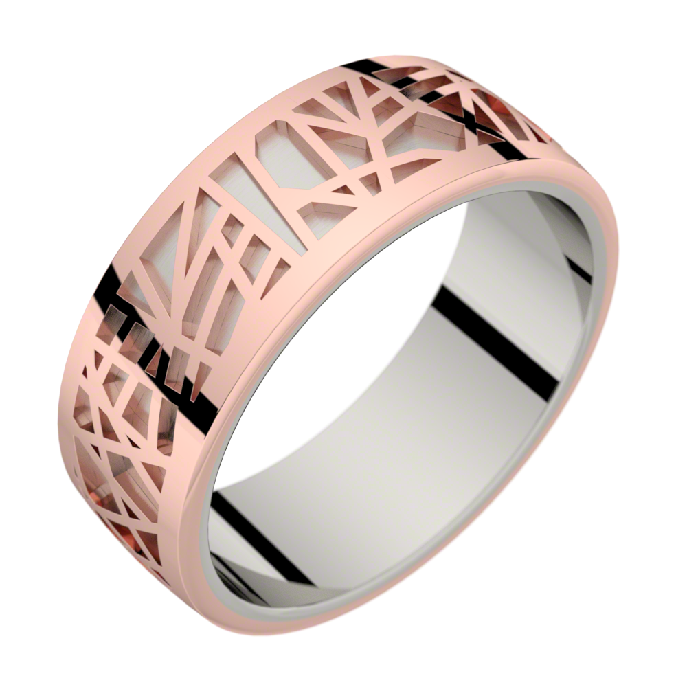 Bague homme or gris et or rose ABSTRACTION 75