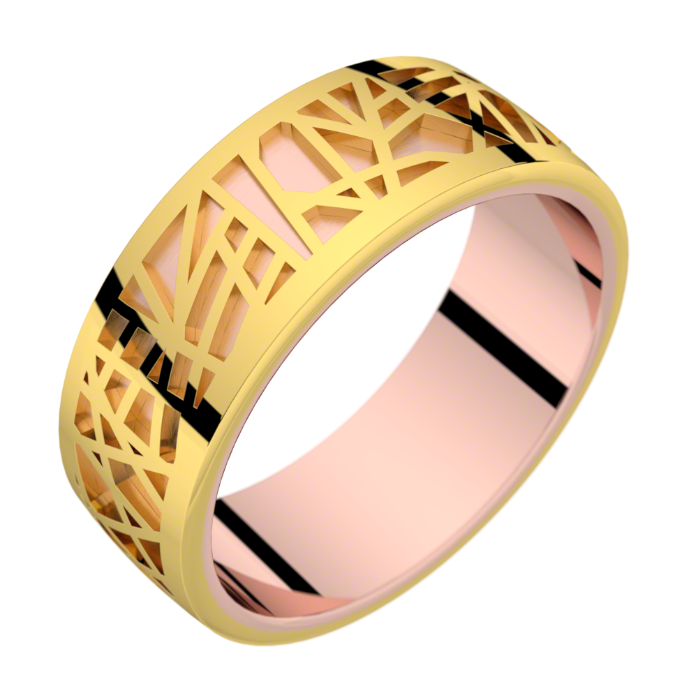 Bague or rose et or jaune ABSTRACTION 75