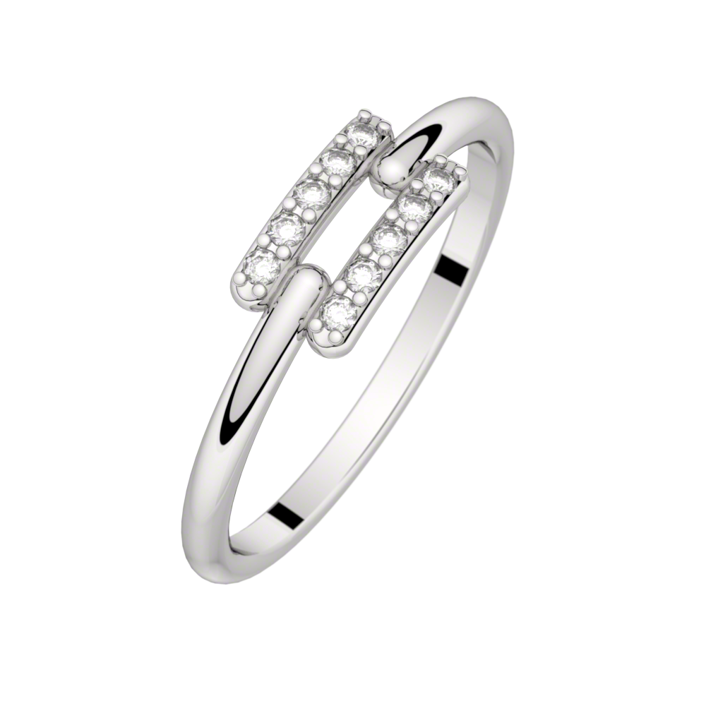 Diamond ring white gold TOI + MOI 0,10 ct