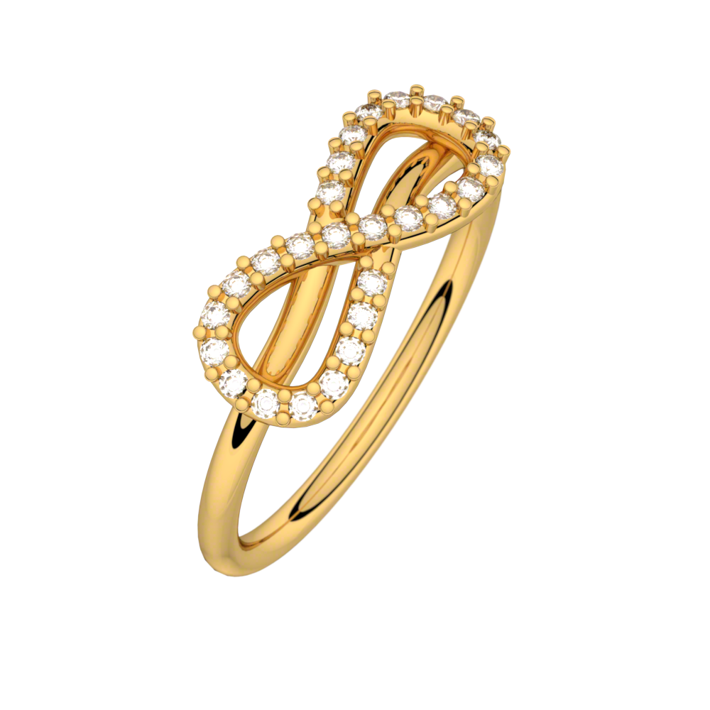 Diamond ring yellow gold MON AMOUR INFINI 0,13 ct HSI