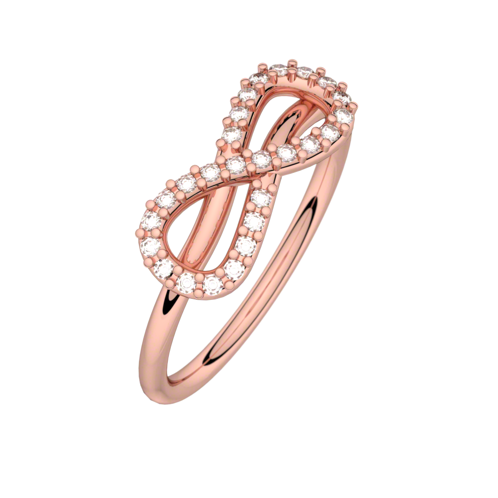 DIamond ring pink gold MON AMOUR INFINI 0,13 ct HSI