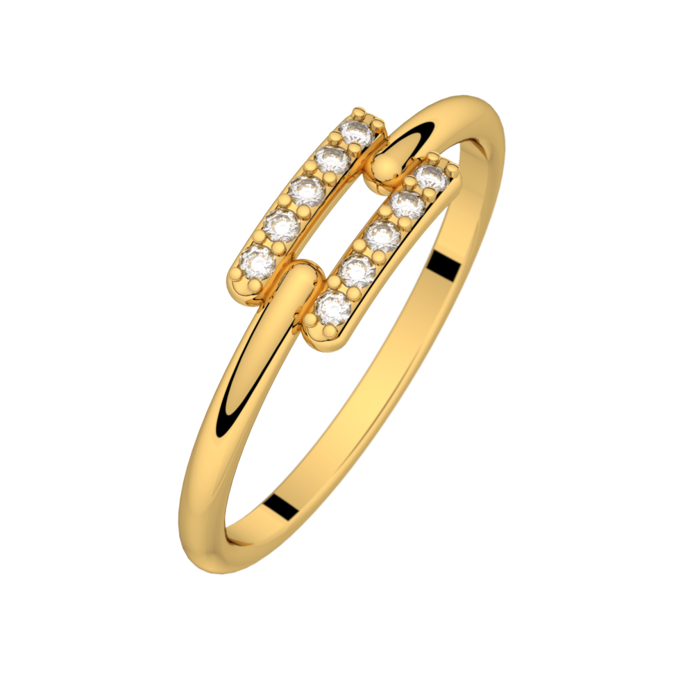 Diamond ring yellow gold TOI + MOI 0,10 ct HSI