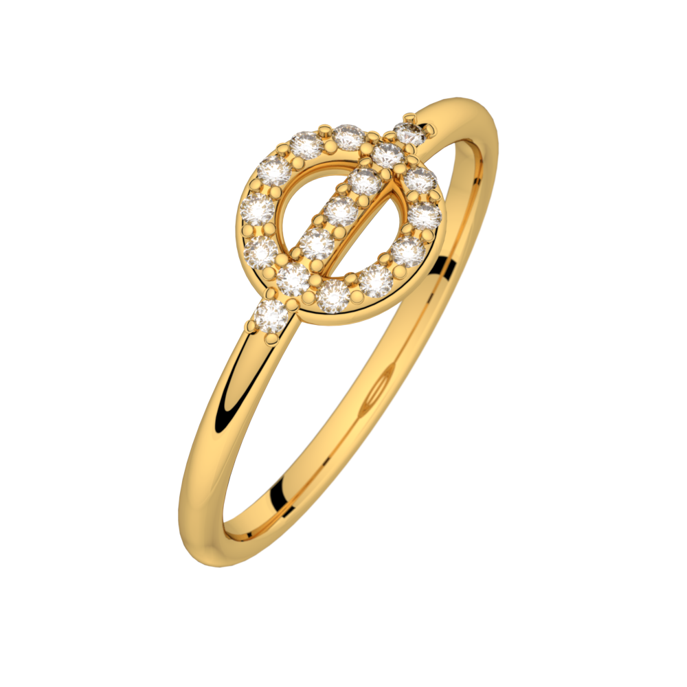 Diamond ring yellow gold FARANDOLE D'AMOUR 0,14 ct HSI