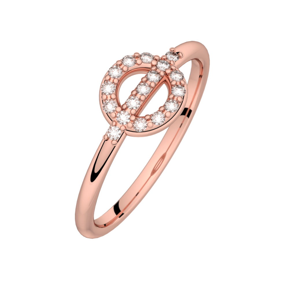 Diamond ring pink gold FARANDOLE D'AMOUR 0,14 ct HSI