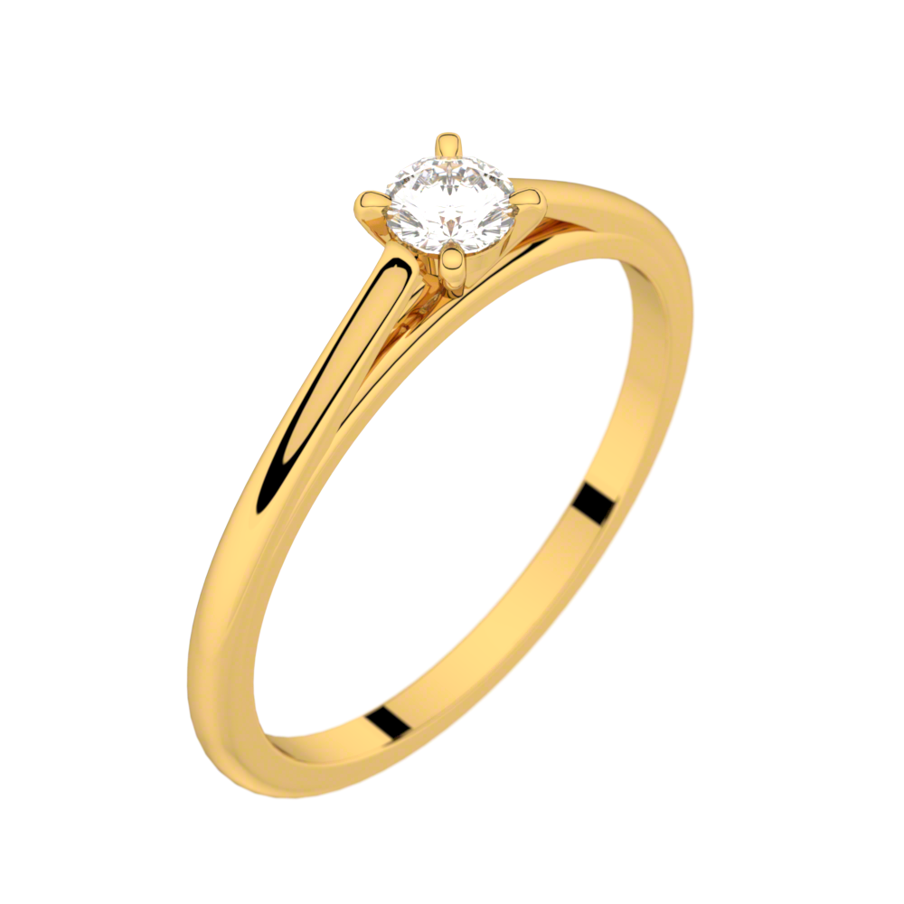 Yellow gold solitaire ring FAUBOURG 0,15 CT GVS