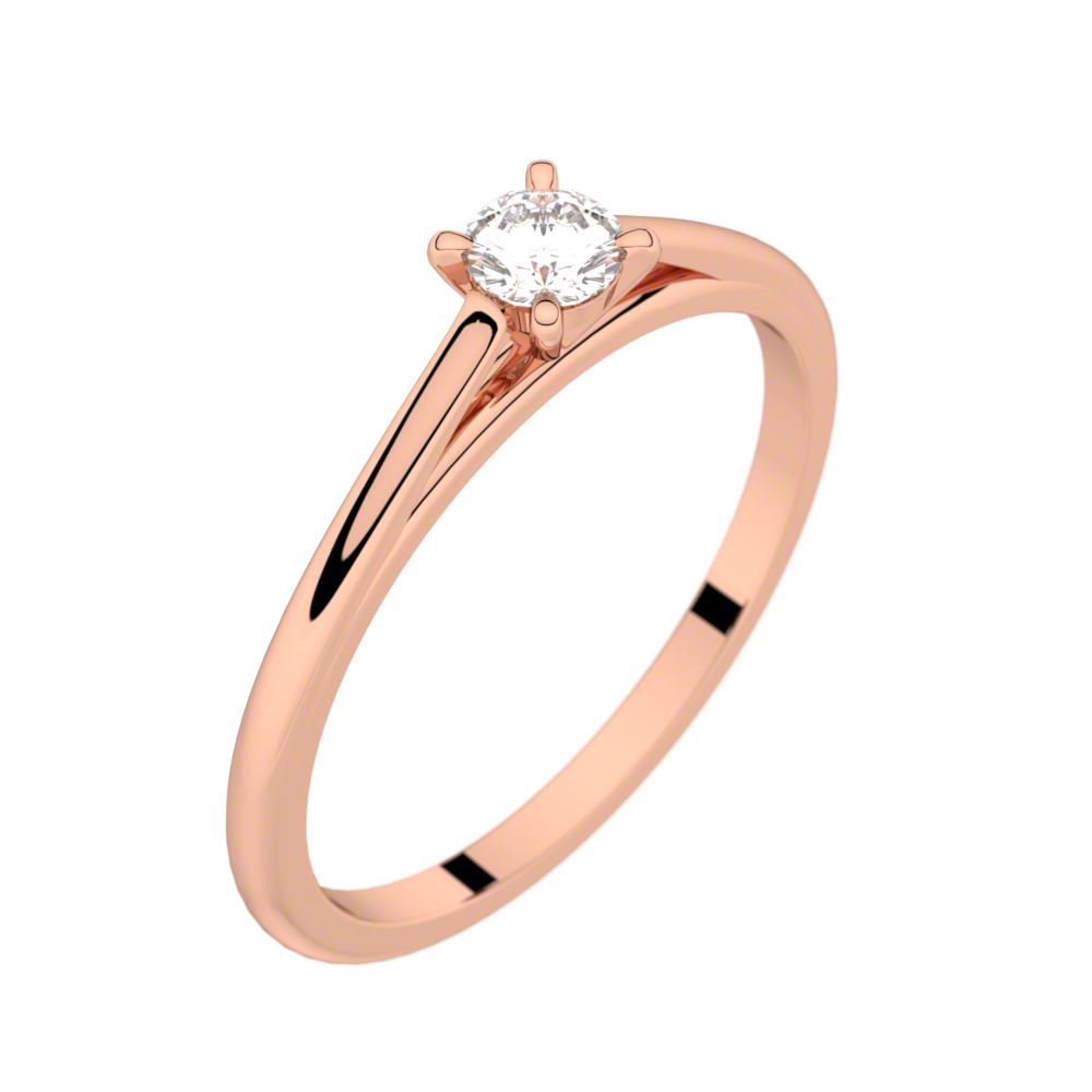 Pink gold solitaire ring FAUBOURG 0,15 CT GVS