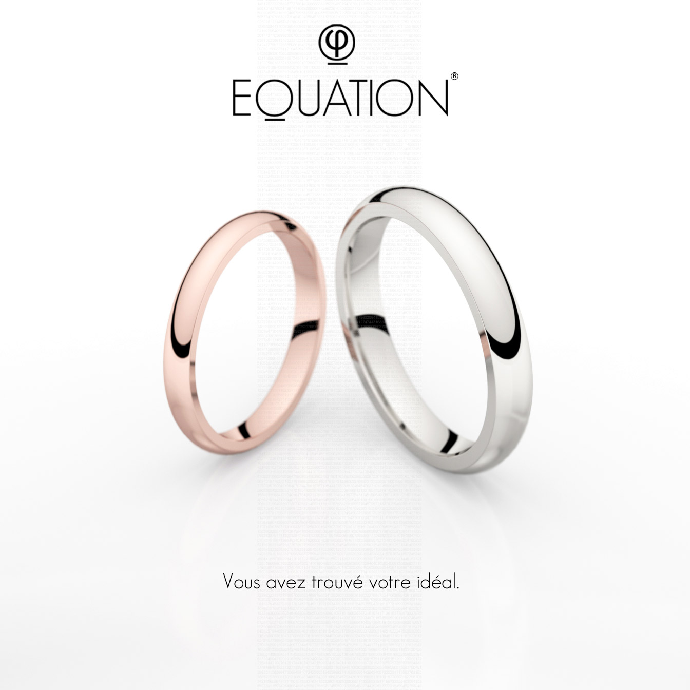 Alliance Equation en or rose et en or blanc