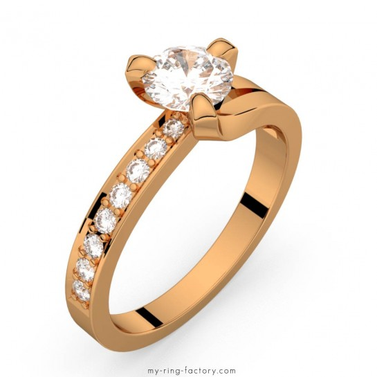 Solitaire diamants pavage or rose Sarasate Eternity 0,65 ct HSI