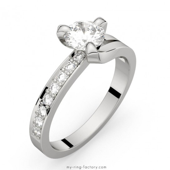 Solitaire diamants pavage or blanc Sarasate Eternity 0,65 ct G-VS
