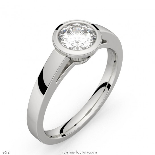 Solitaire diamant or blanc Montmartre 0,50 ct GVS