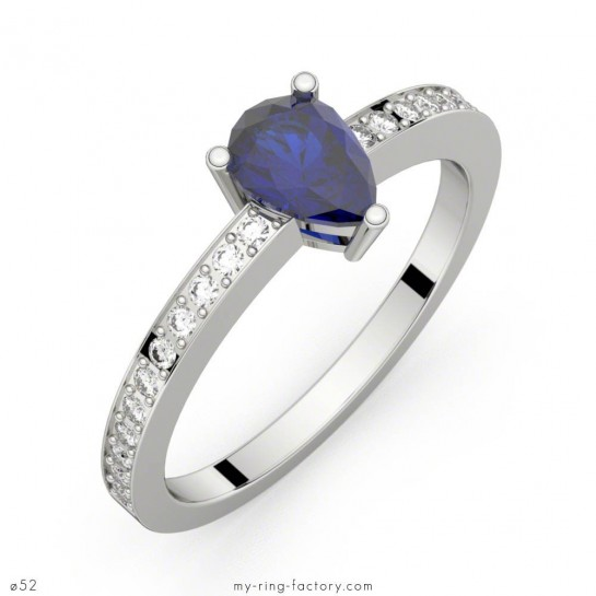 Bague saphir bleu poire or blanc pavage diamants ELISE ETERNITY