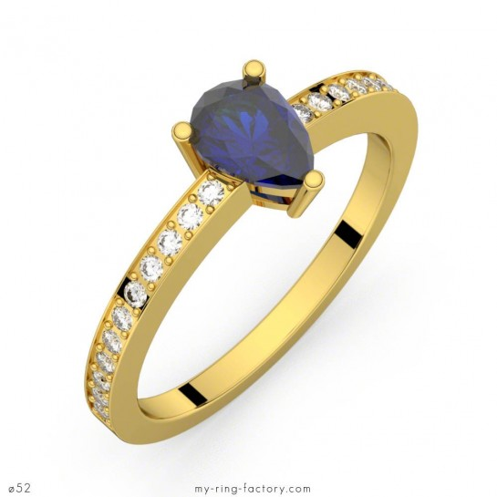 Bague saphir bleu poire or jaune pavage diamants ELISE ETERNITY