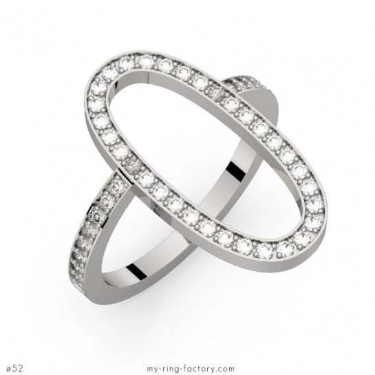 Bague or blanc diamants Louise 45 pavage GVS 0,45 ct