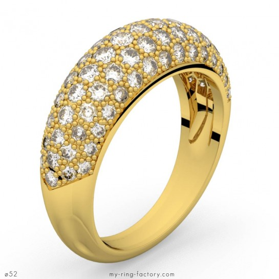 Bague Paloma 139 pavage diamants bombé or jaune 1,39 ct GVS