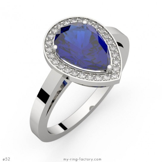 Bague saphir bleu poire Carla entourage diamants or blanc