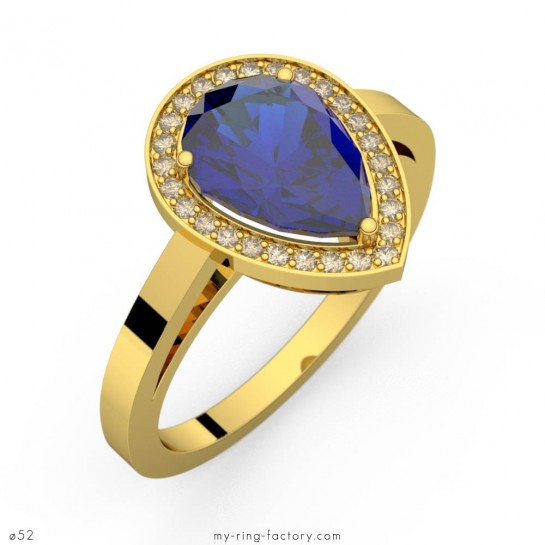 Bague saphir bleu poire Carla entourage diamants or jaune