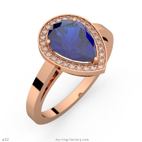Bague saphir bleu poire Carla entourage diamants or rose