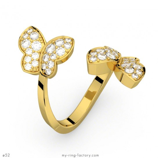 Bague diamants papillon or jaune 0,70 ct HSI METAMORPHOSE
