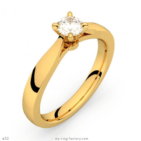 Solitaire or jaune diamant 0,30 ct Faubourg HSI