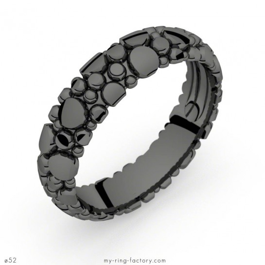 Bague or rhodiage noir Manta Dark