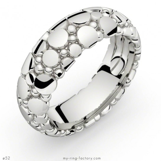 Bague or blanc Manta Queen motif galuchat