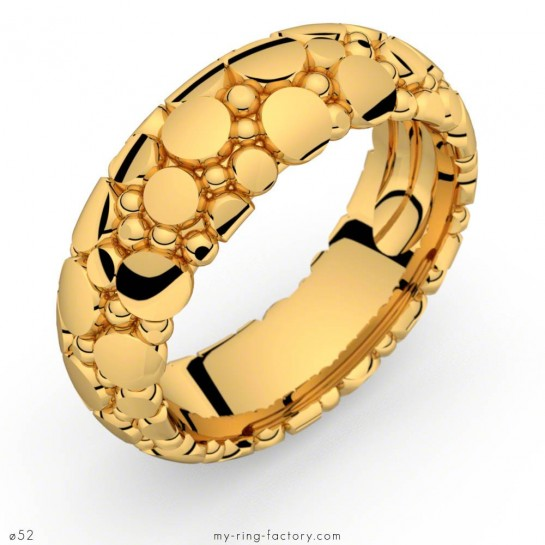 Bague or jaune Manta Queen motifs galuchat