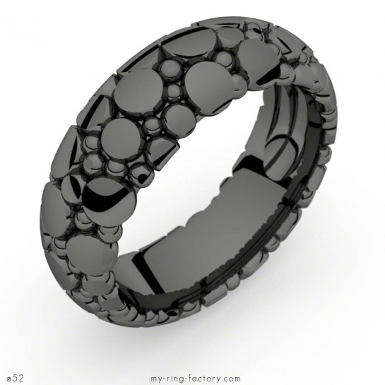 Bague or rhodiage noir Manta Queen Dark motifs galuchat
