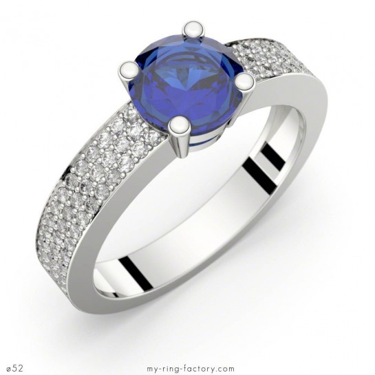 Bague saphir bleu Ceylan or blanc, Danaé Eternity, pavage diamants GVS