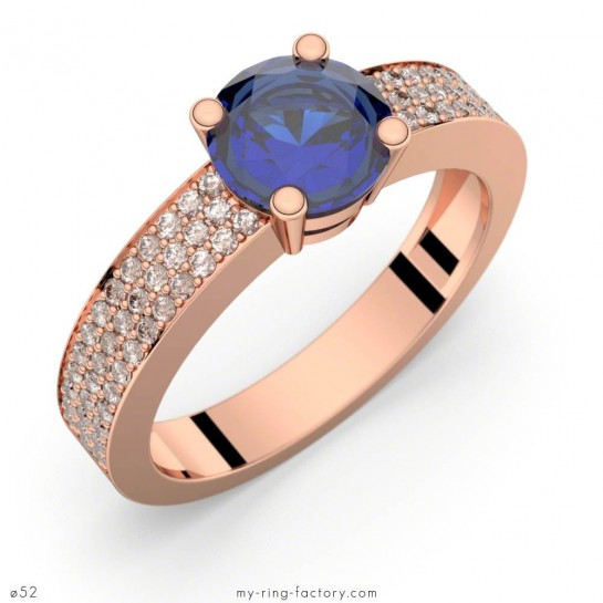Bague saphir bleu Ceylan Danaé Eternity or rose pavage diamants GVS