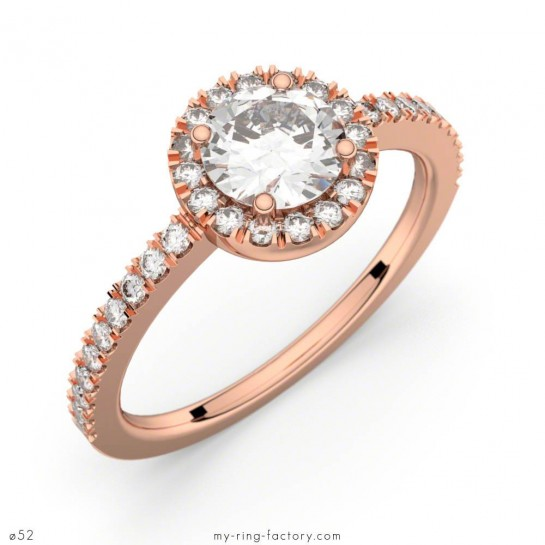 Solitaire Madeleine or rose diamants 0,80 ct GVS