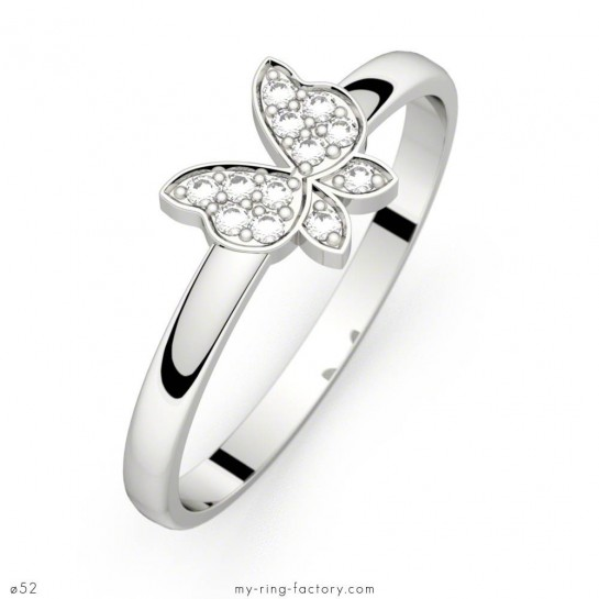 Bague diamants Minute Papillon or blanc pavage 0,06 ct HSI