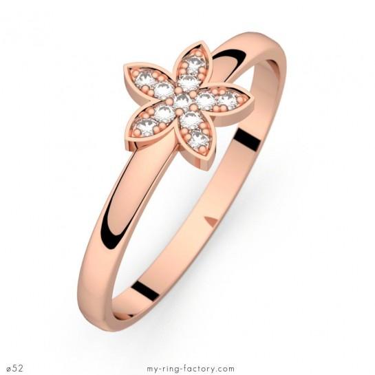 bague diamant or rose comme une fleur 0,06 ct - my-ring-factory
