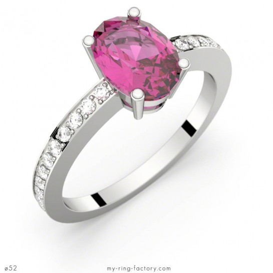 Bague saphir rose ovale pavage diamants PERSEE or blanc