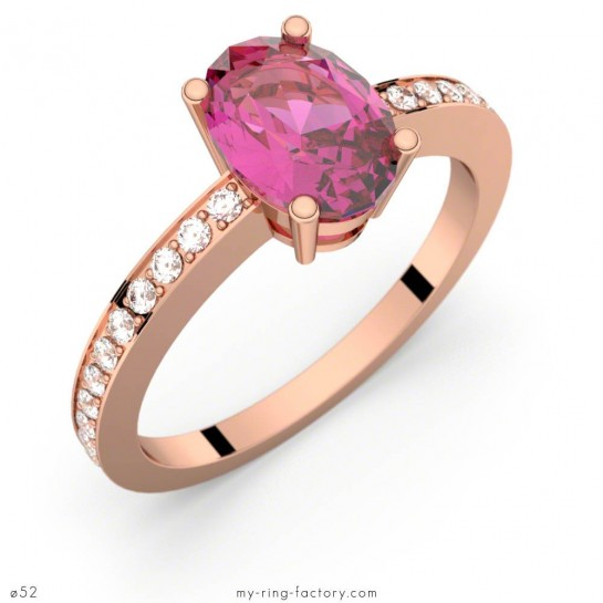 Bague Persée saphir rose ovale or rose pavage diamants GVS