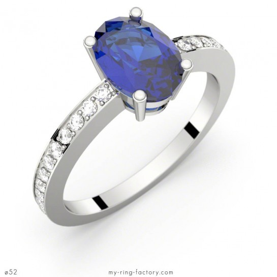 Bague Persée saphir bleu ovale or blanc pavage diamants GVS