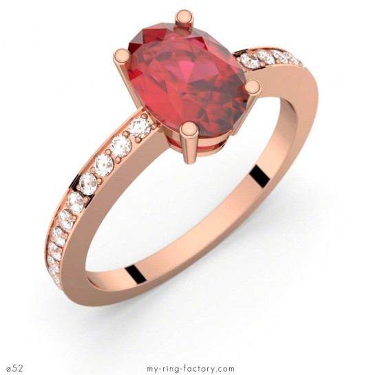 Bague Persée rubis ovale or rose pavage diamants GVS